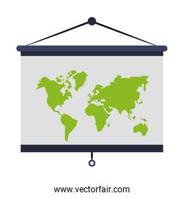 World earth map isolated cartoon