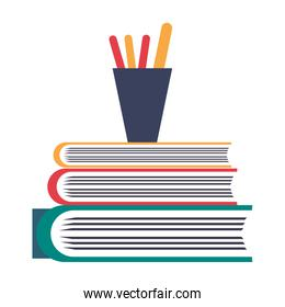 Pencils in cup on books isolated