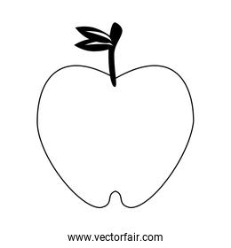 Apple fruit food cartoon isolated in black and white
