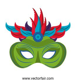 Festival mask with feathers