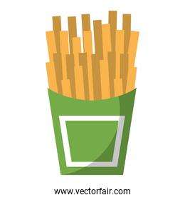 French fries fast food cartoon isolated