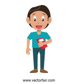 Student with books cartoon