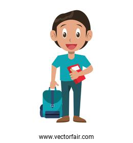 Student boy with book and luggage