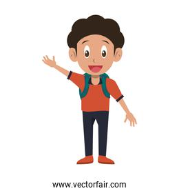 Student boy with backpack cartoon