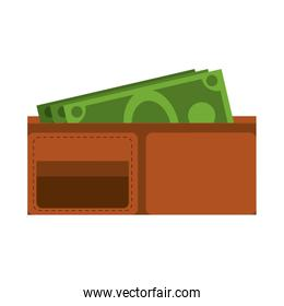 Wallet with money symbol isolated