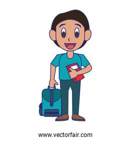 Student boy with book and luggage blue lines