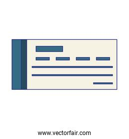 Bank check symbol isolated blue lines
