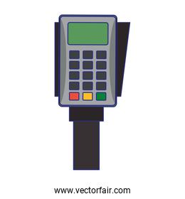 Credit card reader electronic payment device blue lines