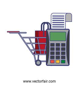 Shopping and sales symbols blue lines