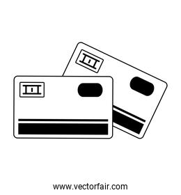 Credit cards electronic payment symbol in black and white