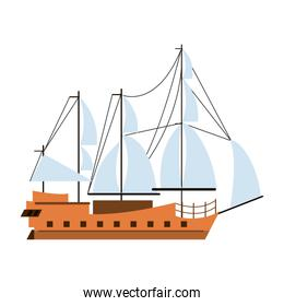 Pirate ship boat side view isolated cartoon