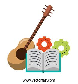 Book with gears and guitar music instrument