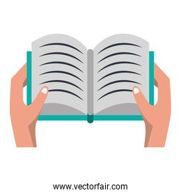 Hand with book open cartoon isolated