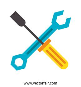 Screwdriver and wrench crossed symbol