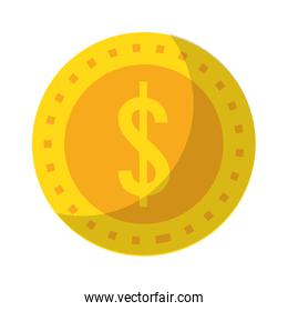 Coin money symbol isolated