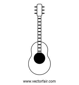 Guitar music instrument isolated cartoon in black and white