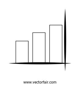 Statistics bars growing symbol isolated in black and white