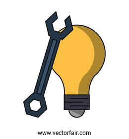 Bulb light and wrench isolated icon