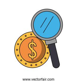 Magnifying glass searching coin money cartoons