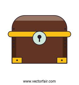 Videogame wooden chest cartoon isolated