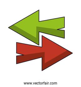 Right and left arrows symbol over white