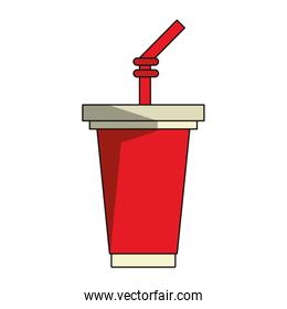 Soda cup with straw cartoon isolated