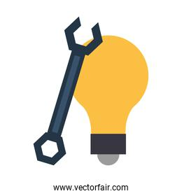 Bulb light and wrench symbols