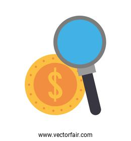 Magnifying glass searching coin money flat style