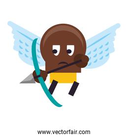 Videogame enemy character with wings and arch cartoon