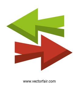 Right and left arrows symbol isolated