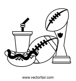 American football sport game cartoons in black and white