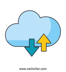 Cloud computing upload and download symbol
