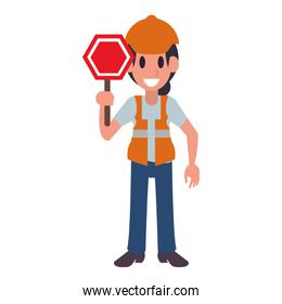 Construction worker professional character cartoon