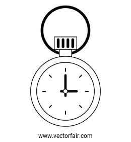 Chronometer time isolated symbol cartoon in black and white