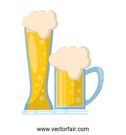 glasses of beer icon cartoon isolated