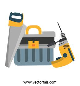 tools set collection workshop icons cartoon