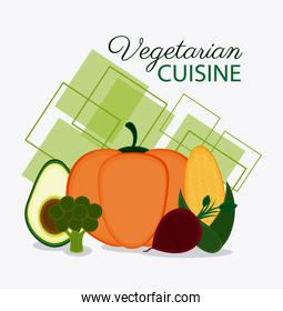 Vegetarian cuisine organic and healthy food design