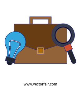 light bulb, briefcase and magnifying glass blue lines