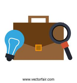 light bulb, briefcase and magnifying glass