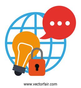globe, speech bubble, light bulb and padlock