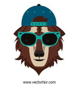 Cool animal with fashion accesories head