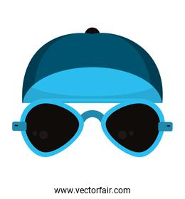 Fashion hat and sunglasses clothes isolated cartoon