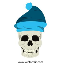 Cool skull with winter hat cartoon isolated