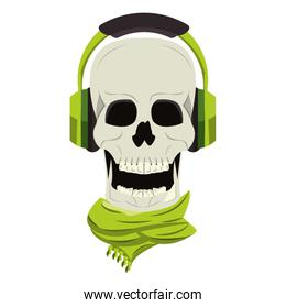 Cool skull with headphones and scarf cartoon