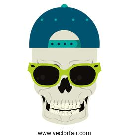 Cool skull with sunglasses and hat cartoon