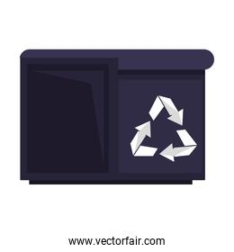 Retro videogame trash can pixelated cartoon isolated