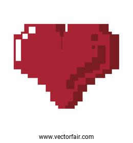 Retor videogame heart pixelated cartoon isolated