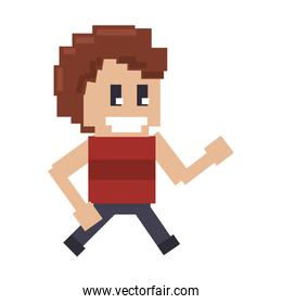 Retro videogame smiling guy characeter pixelated cartoon