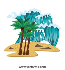 Beach with palms and sea waves cartoon scenery isolated