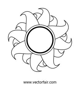 Sun summer cartoon isolated symbol in black and white